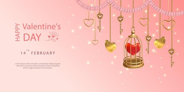 Alles gute zum valentinstag banner. hängende schlüssel, goldener vogelkäfig, herzen und rosa blumengirlande
