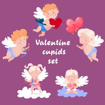 Alles gute zum valentinstag eingestellt. schöne engel und amoren.