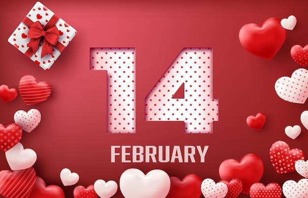 Alles gute zum valentinstag geschenkbox und herz luftballons