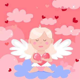 Alles gute zum valentinstag karte. schöner engel mit einem herzen in den wolken.