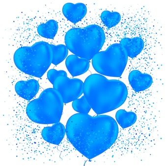 Alles gute zum valentinstag. mattierte partyballons für eventdesign. partydekorationen für geburtstag, jubiläum, feier. luftballons in form eines herzens.
