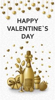 Alles gute zum valentinstag mit champagner, geschenk, blumen und beeren. grußkarte und liebesschablone