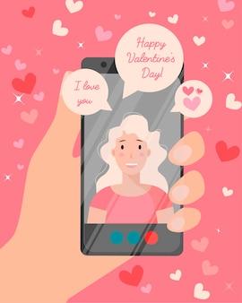 Alles gute zum valentinstag online-karten. verliebtes mädchen, das am telefon spricht.