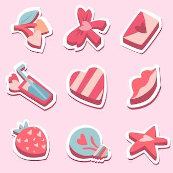 Alles gute zum valentinstag packung mit liebesaufklebern