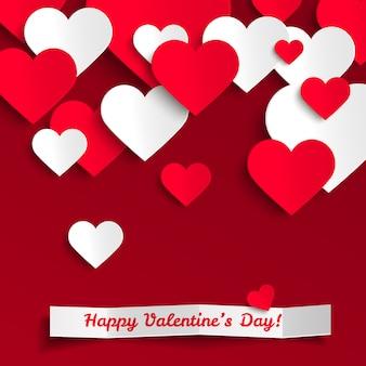 Alles gute zum valentinstag, rote und weiße papierherzen, grußkarte