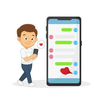 Alles gute zum valentinstag, video-chat online auf dem smartphone, online-dating