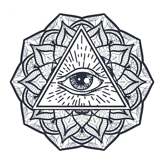 Alles sehende auge im dreieck und im mandal
