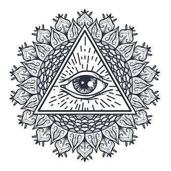 Alles sehende auge im dreieck und mandal