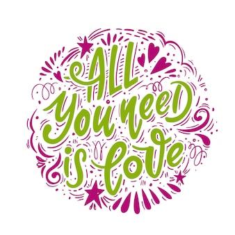 Alles was du brauchst ist liebe. romantisches plakat