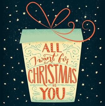 Alles was ich zu weihnachten will, bist du grußkartenschrift vintage typograhy in der geschenkbox