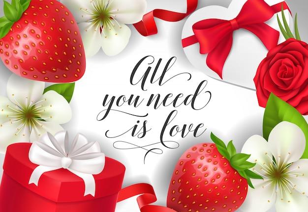 Alles, was sie brauchen, ist die liebe, die mit geschenken beschriftet