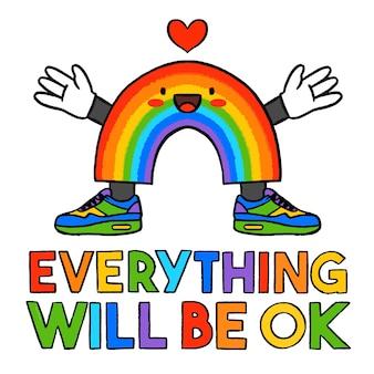 Alles wird in ordnung sein, schriftzug mit regenbogen