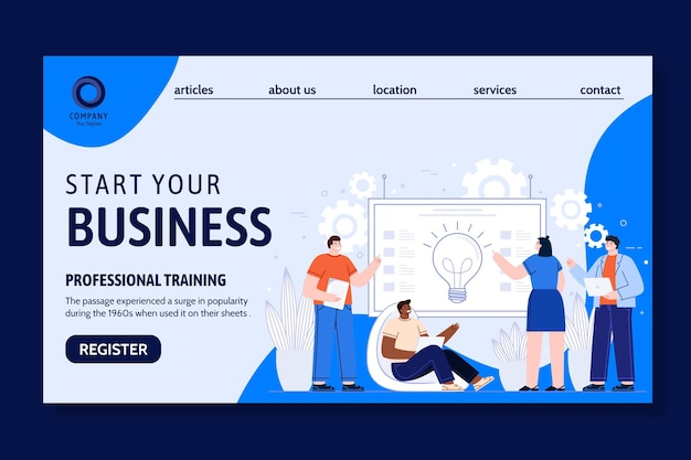 Allgemeine business landing page vorlage dargestellt