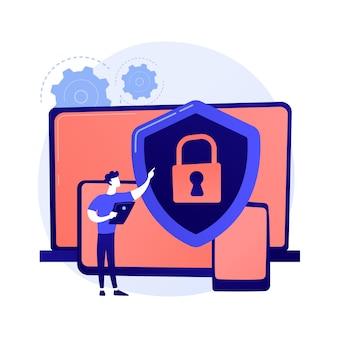 Allgemeine datensicherheit. schutz persönlicher informationen, datenbankzugriffskontrolle, datenschutz im internet. synchronisierte geräte, plattformübergreifende geräteregelung.