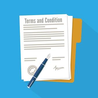 Allgemeine geschäftsbedingungen des dokuments unterzeichnet