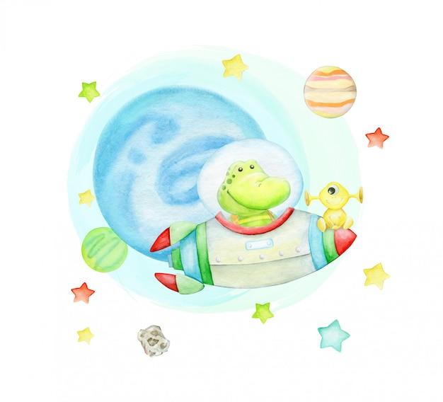 Alligator fliegt auf einer rakete. im weltraum, umgeben von sternen und planeten, mit außerirdischen.