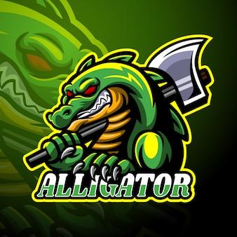 Alligator mit maskottchen mit axt-esport-logo
