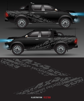 Allrad-lkw und auto grafik. abstrakte linien mit weißem hintergrunddesign für fahrzeug