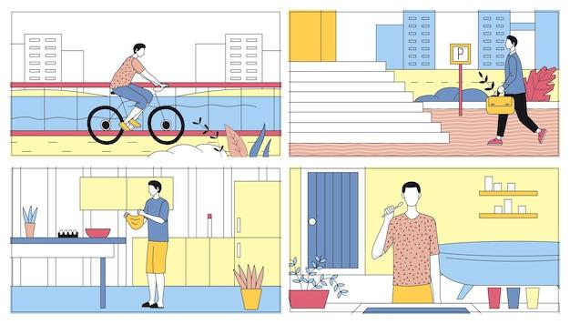Alltägliche freizeit- und arbeitsaktivitäten konzept des menschen. bündel von szenen des täglichen lebens. junge kocht mahlzeit in der küche, fahrrad fahren, zähne waschen, zur arbeit gehen. cartoon flat vector illustrations set.