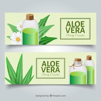 Aloe vera banner mit kosmetik