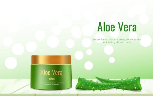 Aloe vera creme auf dem tisch vor einem bokeh hintergrund. realistische aloe vera vektor-illustration