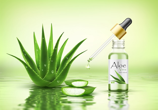 Aloe vera pflanze mit frischen tropfen und tropfflasche. modell der kollagenserumverpackung. poster-vorlage für schönheitskosmetik-produktanzeigen. realistische 3d vektorillustration auf wasserwelligkeitshintergrund