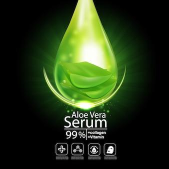 Aloe vera serum für hautpflege kosmetikprodukt hintergrund