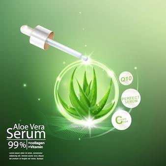 Aloe vera vektor und lichteffekt auf grünem hintergrund für kosmetische hautpflegeprodukte