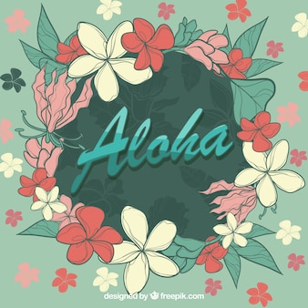 Aloha blumen kreis hintergrund