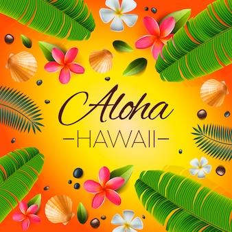 Aloha hawaii hintergrund. tropische pflanzen, blätter und blüten. begrüßung in hawaiianischer sprache. illustration.