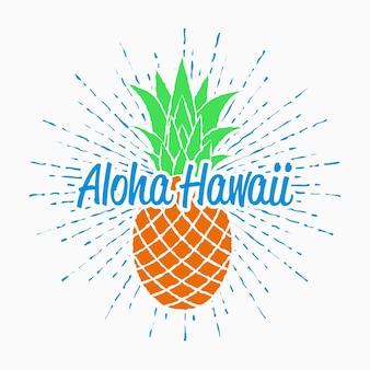 Aloha hawaii typografie-grafik für t-shirt mit ananas und sunburst vintage-design für den sommer