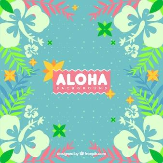Aloha hintergrund mit blumen und blätter im vintage-stil