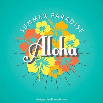 Aloha hintergrund mit blumen