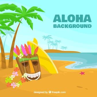 Aloha hintergrund mit hawaiianischen maske am strand