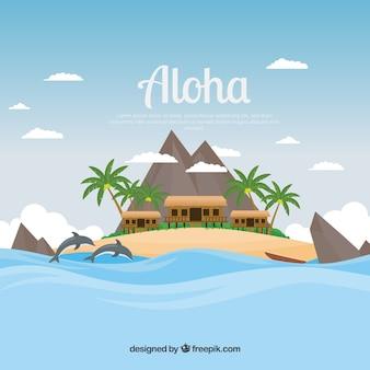 Aloha hintergrund mit hütten in einer wunderschönen landschaft