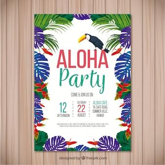 Aloha party flyer mit bunten palmblättern und tukan