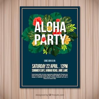Aloha party flyer mit tropischen blumen