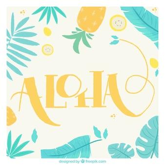 Aloha retro hintergrund mit blättern und ananas