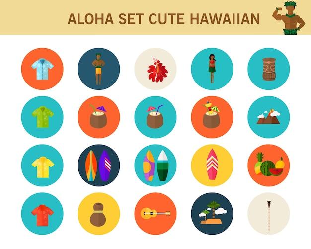Aloha set nette hawaiische flache ikonen des konzeptes.