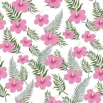 Aloha summer floral seamless pattern auf tropischen vibes