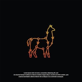 Alpaka-logo-design-vorlagenlinie