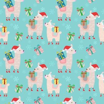 Alpakas mit nahtlosem muster des geschenks.