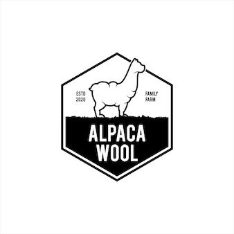 Alpakawolle logo einfaches abzeichen emblem