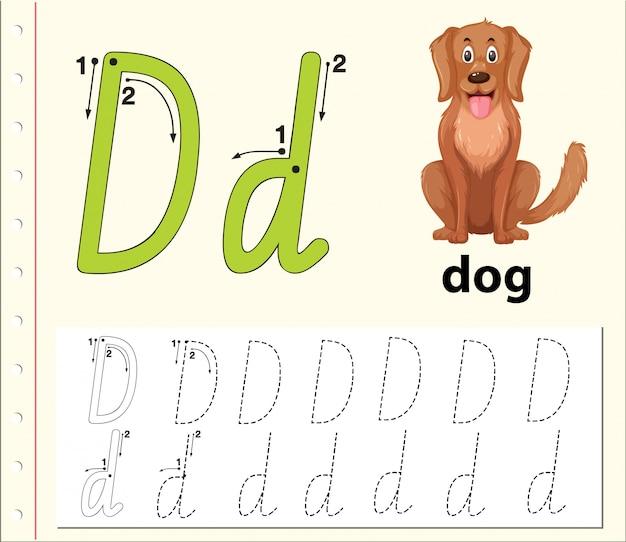 Alphabet-arbeitsblätter für buchstabe d.
