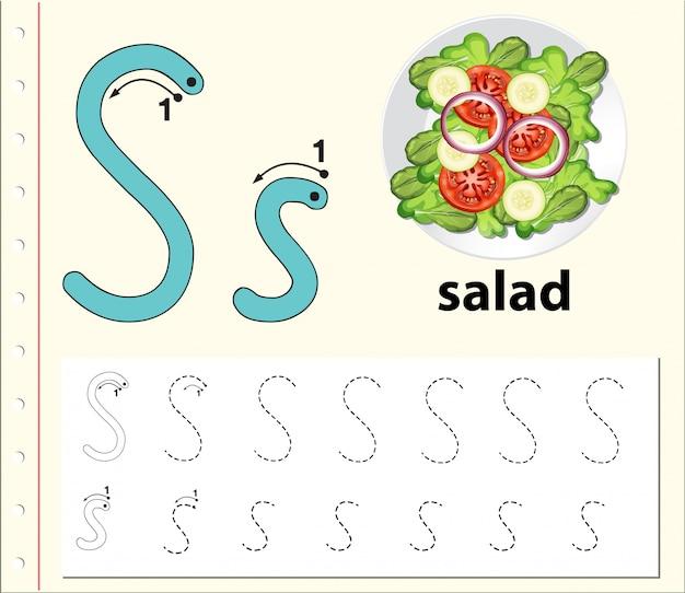 Alphabet-arbeitsblätter für buchstabe s