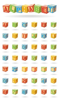 Alphabet auf einem babywürfel. einfach zu ändernde farben und drehende blöcke. vektorillustration auf weißem hintergrund.