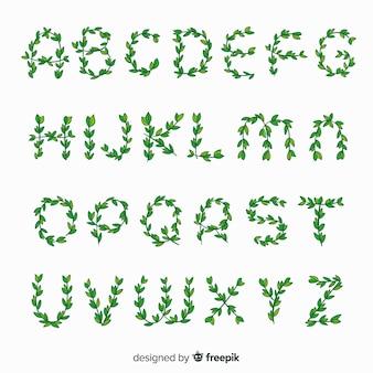 Alphabet aus blättern gemacht
