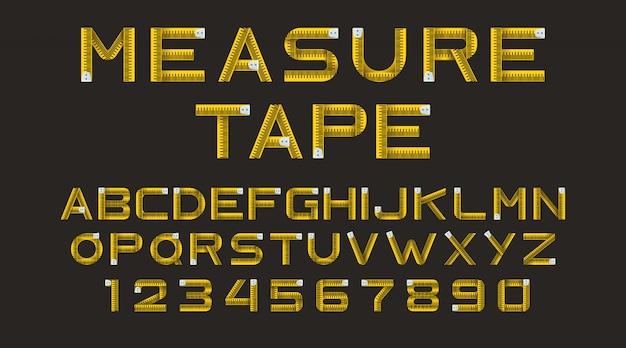 Alphabet aus gelben maßband