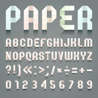 Alphabet aus toilettenpapier gefaltet.