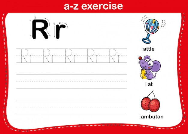 Alphabet az übung mit cartoon vokabular illustration, vektor